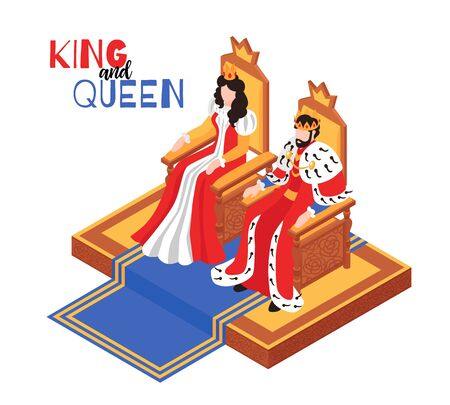 Isometric castle royal interior composition with text and characters of king and queen sitting on throne vector illustration Illusztráció
