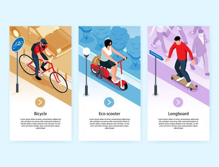 Eco transport three vertical banners  illustrated riding on bicycle eco scooter and long board  isolated vector illustration