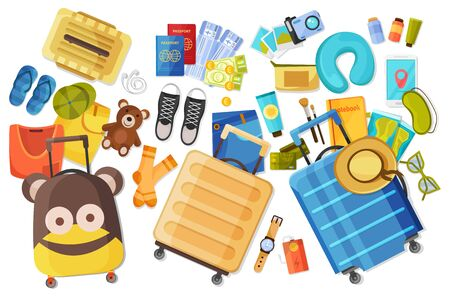 Family suitcase flat composition with flat images of personal things and belongings of child and adults vector illustration