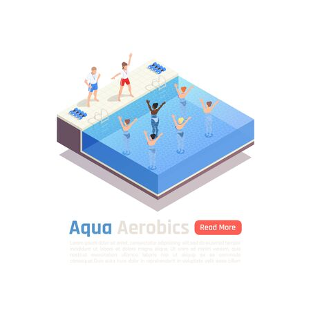 Water aqua aerobics group fitness lesson isometric composition with water immersed participants exercise with instructor vector illustration Illustration