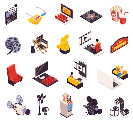 Isometric cinema icons collection of sixteen isolated images with movie making tools auditorium furniture and people vector illustration Standard-Bild - 129490401