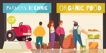 Expo trade stand background with farmers technician and organic food symbols flat vector illustration 일러스트