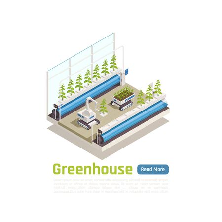 Modern hydroponic greenhouse gardening isometric composition with remote controlled robot planting seedlings in grow trays vector illustration Illustration