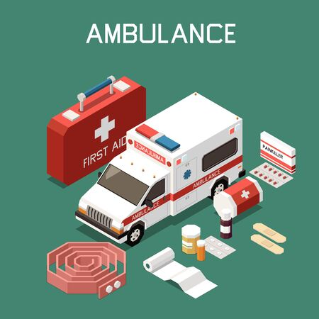 Ambulance car and first aid kit with plaster bandage medicine 3d isometric vector illustration
