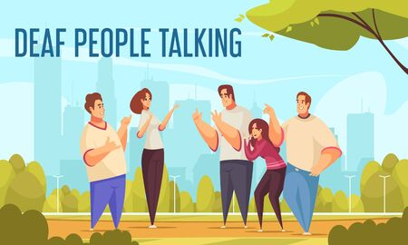 Deaf people talking background with sign language symbols flat  vector illustration Иллюстрация