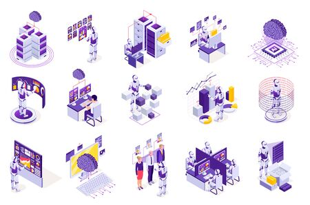 Robotic process automation isometric icons with isolated images of robots electronics computer screens and futuristic interfaces vector illustration