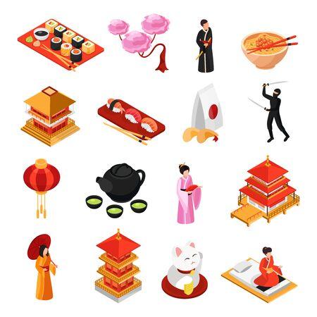 Le icone isometriche dell'alimento delle tradizioni della cultura di viaggio del Giappone hanno messo con l'illustrazione di vettore isolata il fiore di ciliegia della geisha del tempio dei sushi