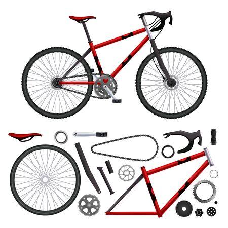 Realistische fietsonderdelenreeks geïsoleerde fietselementen en opgebouwde modelafbeeldingen op lege vectorillustratie als achtergrond