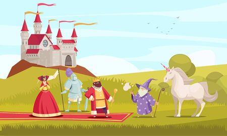 Fairy tale characters background with king queen and knight flat vector illustration Stock Illustratie
