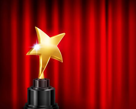 Trophy award red curtain background realistic composition with image of golden star shaped cup on pedestal vector illustration Иллюстрация