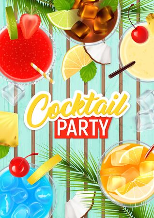 Cocktail party realistic poster with tropical fruit and alcohol vector illustration