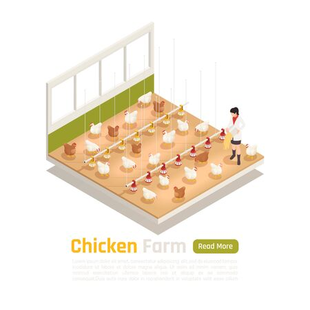 Modern chicken poultry farm facility isometric element with automated watering feeding and eggs collection system vector illustration