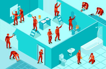 Isometric background with workers from home repair service painting walls laying flooring installing windows plumbing 3d vector illustration Standard-Bild - 129490486