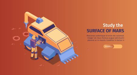 Isometric mars colonization horizontal banner with study the surface of mars headline and more button vector illustration Illustration
