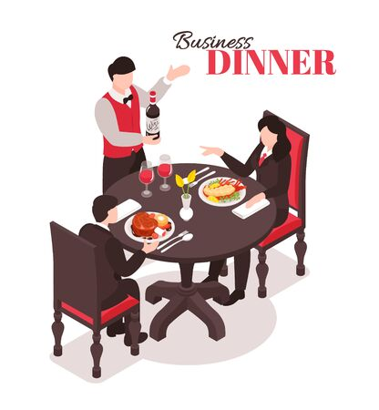 Isometric restaurant composition with human characters in suits at round table with waiter and ornate text vector illustration