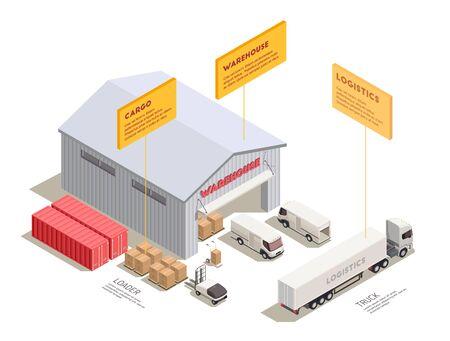 Composition isométrique avec entraîneur de camions de livraison et conteneurs près de l'entrée de l'entrepôt illustration vectorielle 3d