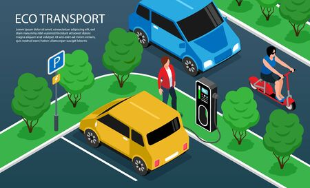 Isometric fragment of city constructor with eco transport on road and charging station horizontal vector illustration