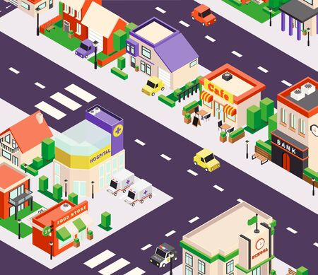 Isometric city buildings composition with bird eye perspective view of town block with shops and cafe vector illustration