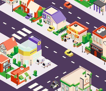 Isometrische samenstelling van stadsgebouwen met vogelperspectief uitzicht op stadsblok met winkels en café vectorillustratie