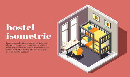 Habitación de albergue de cartel isométrico de clase económica con litera, mesa y silla, ilustración vectorial