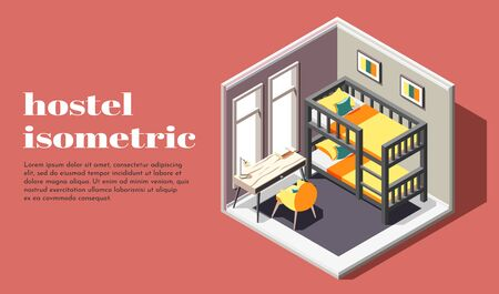 Hostel room of economy class isometric poster with bunk bed table and chair vector illustration Illustration