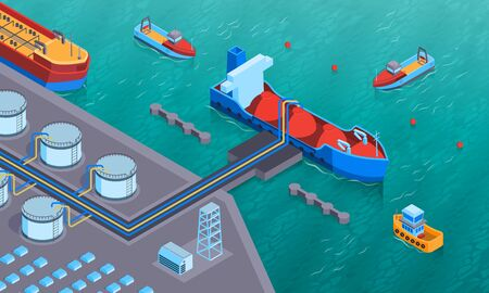 Isometric water transport horizontal composition with view of land based equipment and oil tanker being loaded vector illustration Illustration