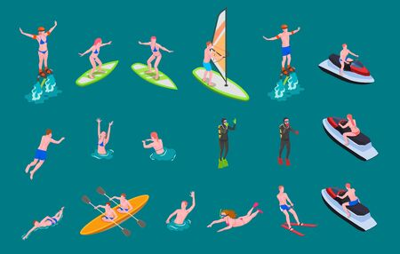 Isometric colored water sports icon set with people swim surf involved in scuba diving windsurfing and other vector illustration