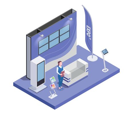 Isometric composition with woman and expo stand with monitor and handouts 3d vector illustration  イラスト・ベクター素材