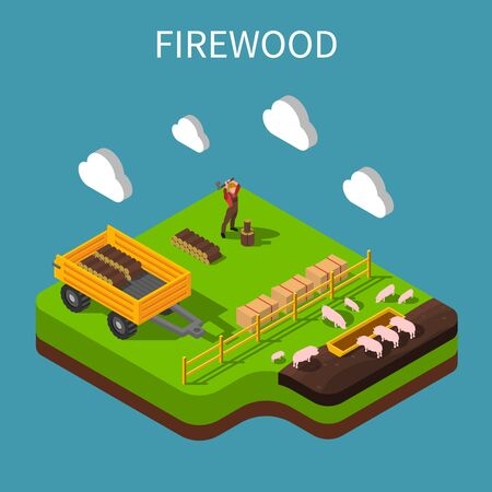 Farmer isometric composition with agricultural worker stabbing firewood on pig farm vector Illustration