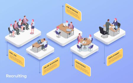 Recruiting human resources flowchart with people looking for job communicating with hr specialists 3d isometric vector illustration