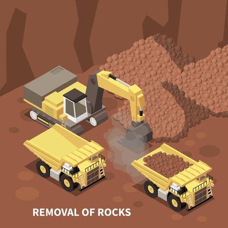 Arrière-plan isométrique de machines minières avec excavatrice et deux camions à benne basculante enlevant des roches de la carrière