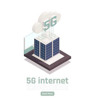 Modern internet 5g communication technology isometric composition with editable text clickable button and conceptual tech images vector illustration