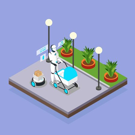 Home robots taking care of children isometric background composition with humanoid babysitter walking with pram vector illustration Illustration