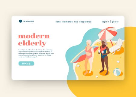 Modern elderly people isometric landing page with two women on south beach who came to surf vector illustration Ilustração
