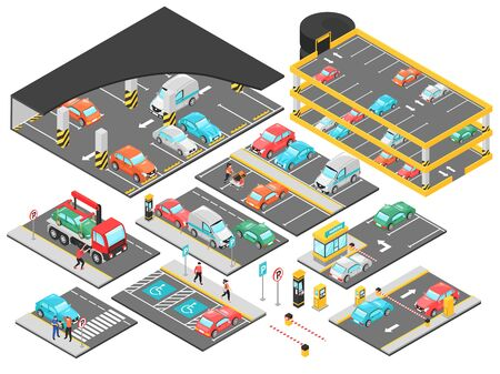 Isometric car parking underground multilevel set with isolated constructor elements for parking lot levels with cars vector illustration