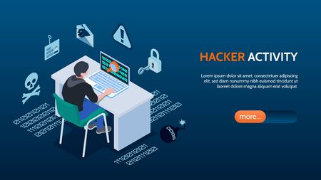 Cyber security isometric horizontal banner with hacker sitting in front of computer on blue background 3d vector illustration