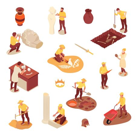Archeology isometric icons set with scientists their equipment and ancient artifacts isolated on white background