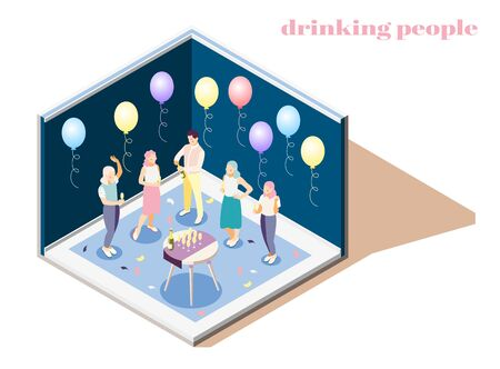 Relaxing and drinking people indoors isometric composition with catering symbols Foto de archivo - 129597781