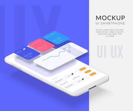 Realistic mobile phone disassembled interface background composition with separated screens and image of smartphone with apps vector illustration 일러스트