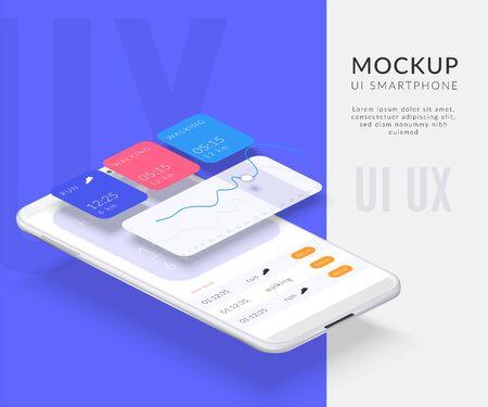 Composition d'arrière-plan d'interface démontée de téléphone portable réaliste avec écrans séparés et image de smartphone avec illustration vectorielle d'applications Vecteurs