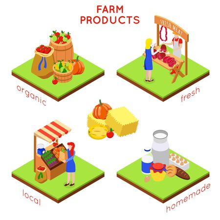 Farm local market isometric 4x1 design concept with compositions of food images human characters and text vector illustration Иллюстрация