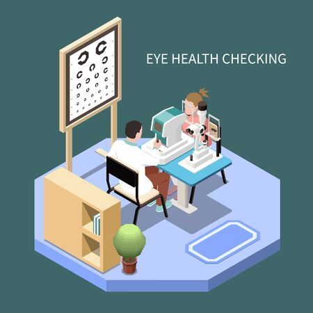 Woman checking eye health in ophthalmology office isometric composition 3d vector illustration