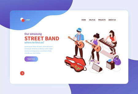 Isometric street musician concept banner web site landing page design with images text and clickable links vector illustration Stock Illustratie
