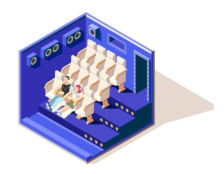 Different couples isometric composition with young boy and girl watching film in cinema and eating Popcorn vector illustration