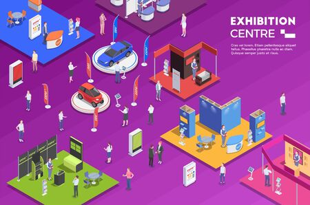 People visiting exhibition center with colorful exposition stands isometric background 3d vector illustration