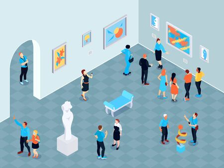 Isometric guide excursion art museum composition with indoor view of art gallery with paintings and sculptures vector illustration Illusztráció