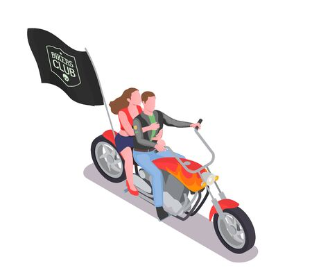Isometric composition with man and woman riding motorbike with black bikers club flag 3d vector illustration Иллюстрация