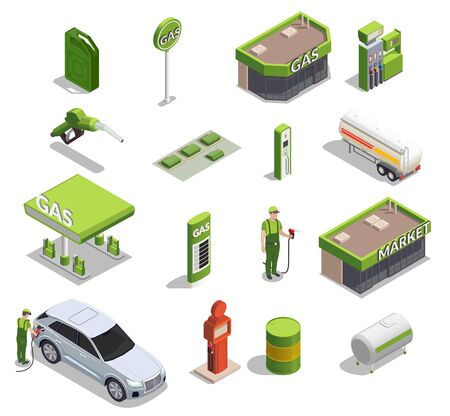 Gas station isometric set of icons and images of filling columns petrol cans buildings and people vector illustration