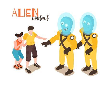 Concepto de diseño de contacto alienígena con niño y niña que se encuentran con dos divertidos humanoides de dibujos animados ilustración vectorial isométrica Ilustración de vector