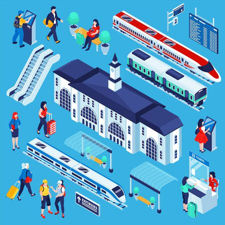 Isometric railway station set of isolated railroad complex constructor elements with trains buildings and human characters vector illustration Illustration
